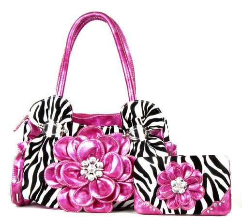 Zebra Purse with Flower