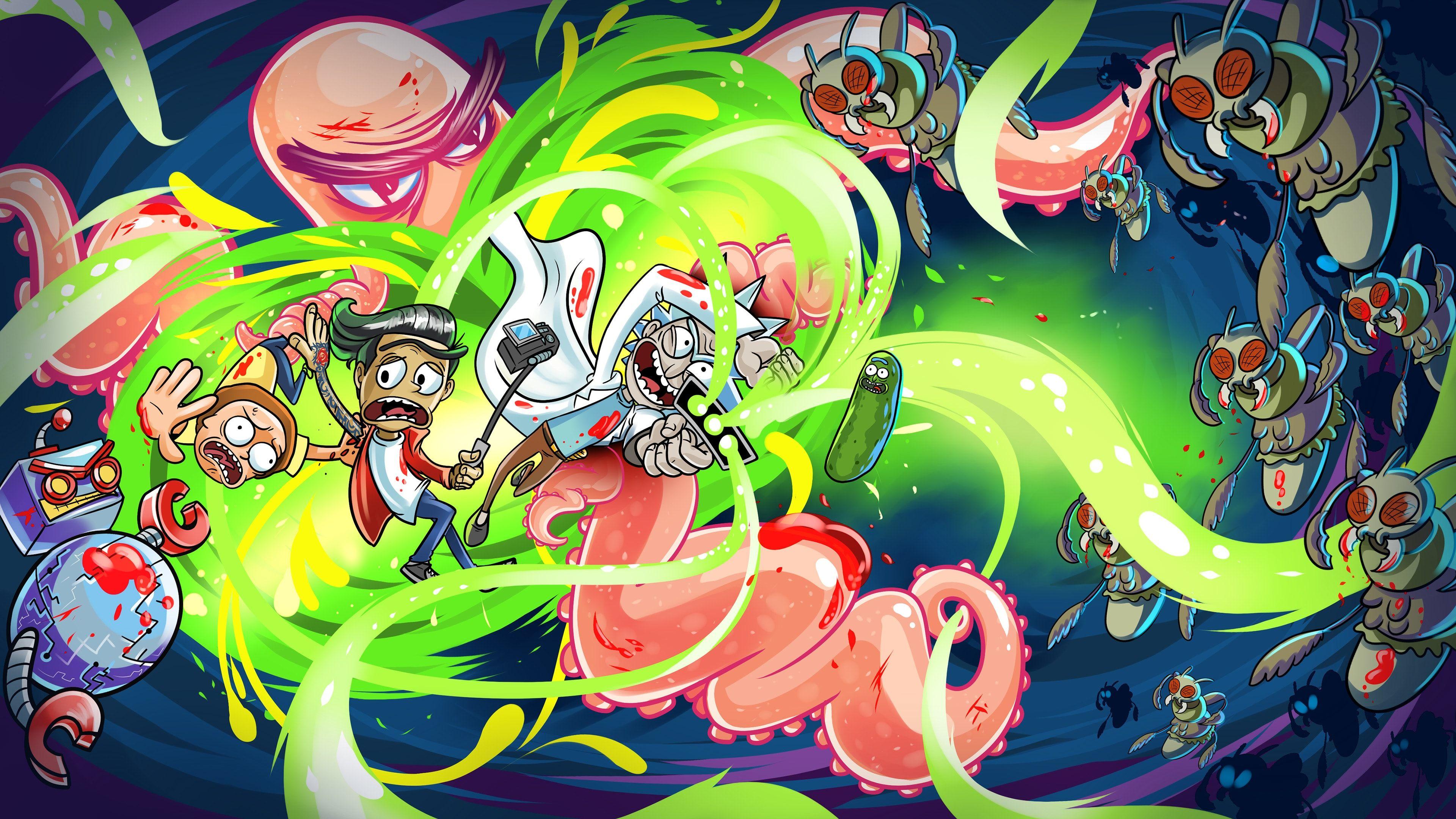 Rick and Morty artwork 4K wallpaper in 2020 Cartoon