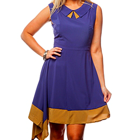 Blue & Mocha Asymmetrical Dress with Retro Peter Pan Collar! by Fashion N Fragrances on Opensky