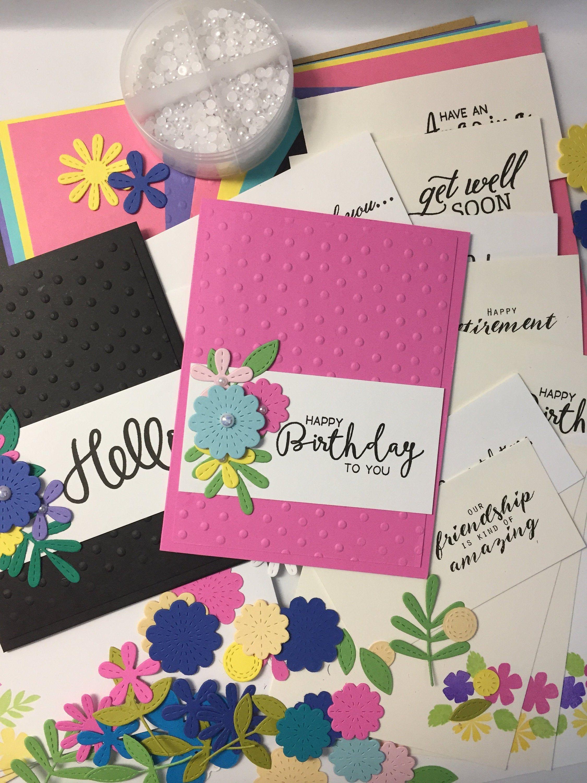 Handmade Card Kit Hand Stamped Card Diy Card Kit Custom Etsy In 2021 Handmade Card Kits Cards Handmade Card Kit