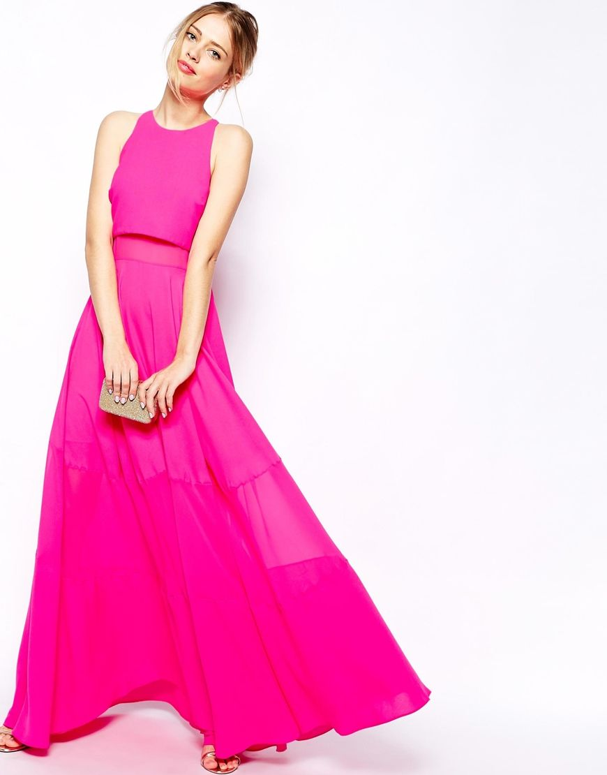 Full Maxi Dress With Sheer And Solid Panels | Fucsia, Neón y ...