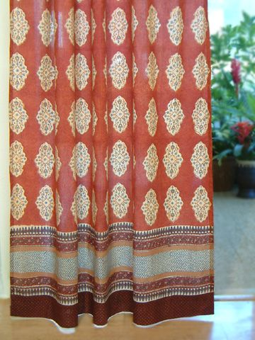 Spice Decorative Red Orange Moroccan Tab Top Curtain For My Living Room