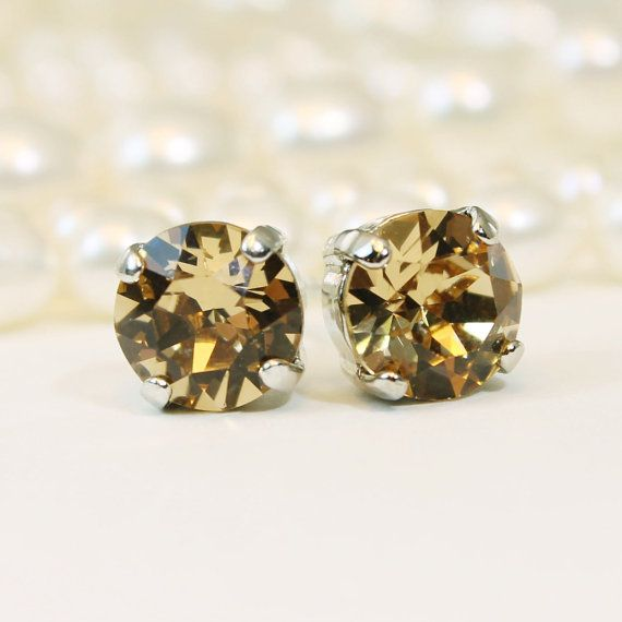 Brown Stud Earrings Light Brown Champange Post by TIMATIBO on Etsy
