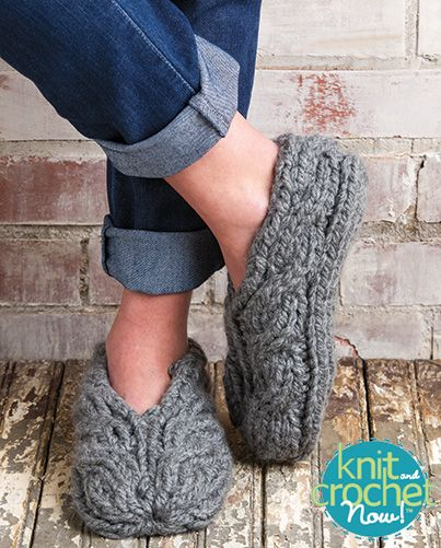 Free Chunky Cable Slippers Knit Pattern Download -- Designed by KCN Design Team. Featured in Season 5, episode 508, of Knit and Crochet Now! TV. Download here: http://www.knitandcrochetnow.com/chunky-cable-slippers-knit-and-crochet-now-season-5-episode-508/