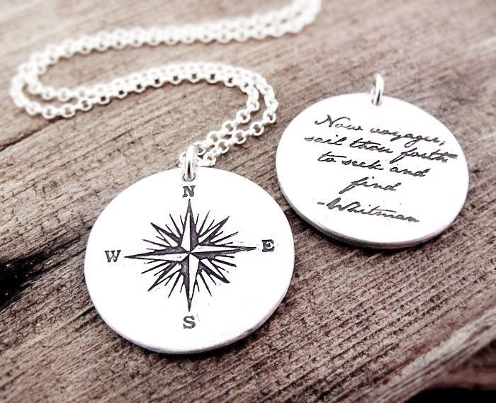Voyager necklace compass rose and whitman quote inspirational voyager necklace compass rose and whitman quote inspirational jewelry graduation pendant 7200 aloadofball Image collections