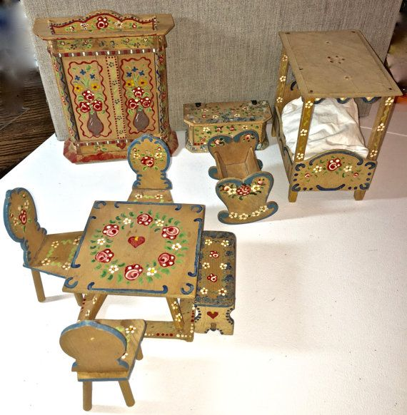 Antique Vintage German Dollhouse Furniture Set Possible Dora Kuhn See Marks  HAND PAINTED 9 Pieces For Bedroom And Dining Room