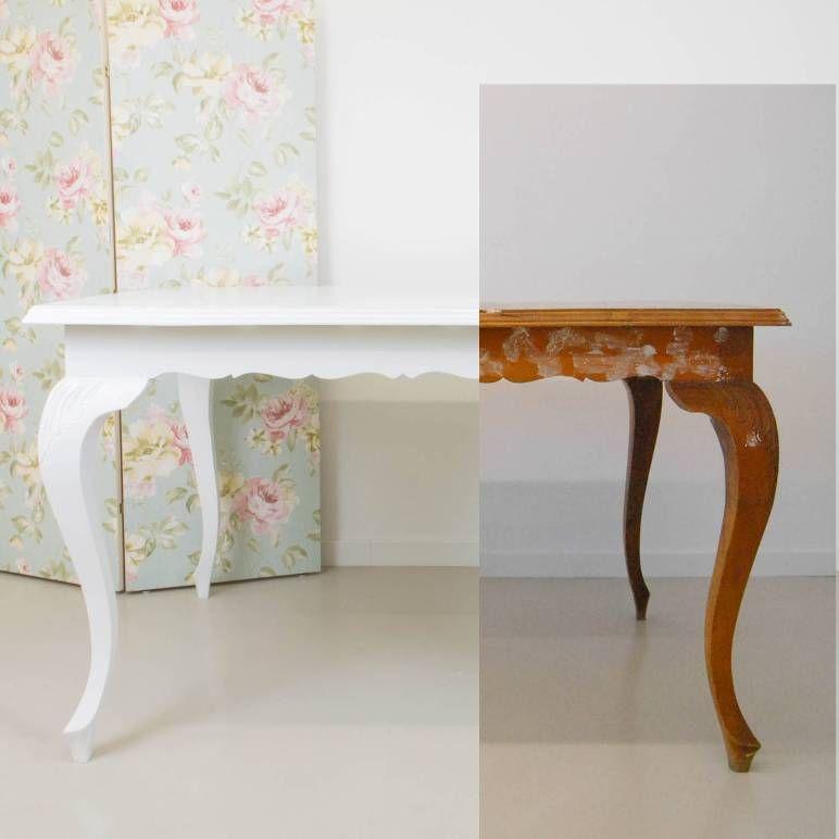 Transformar una mesa antigua pintando en blanco muebles - Transformar muebles antiguos en modernos ...