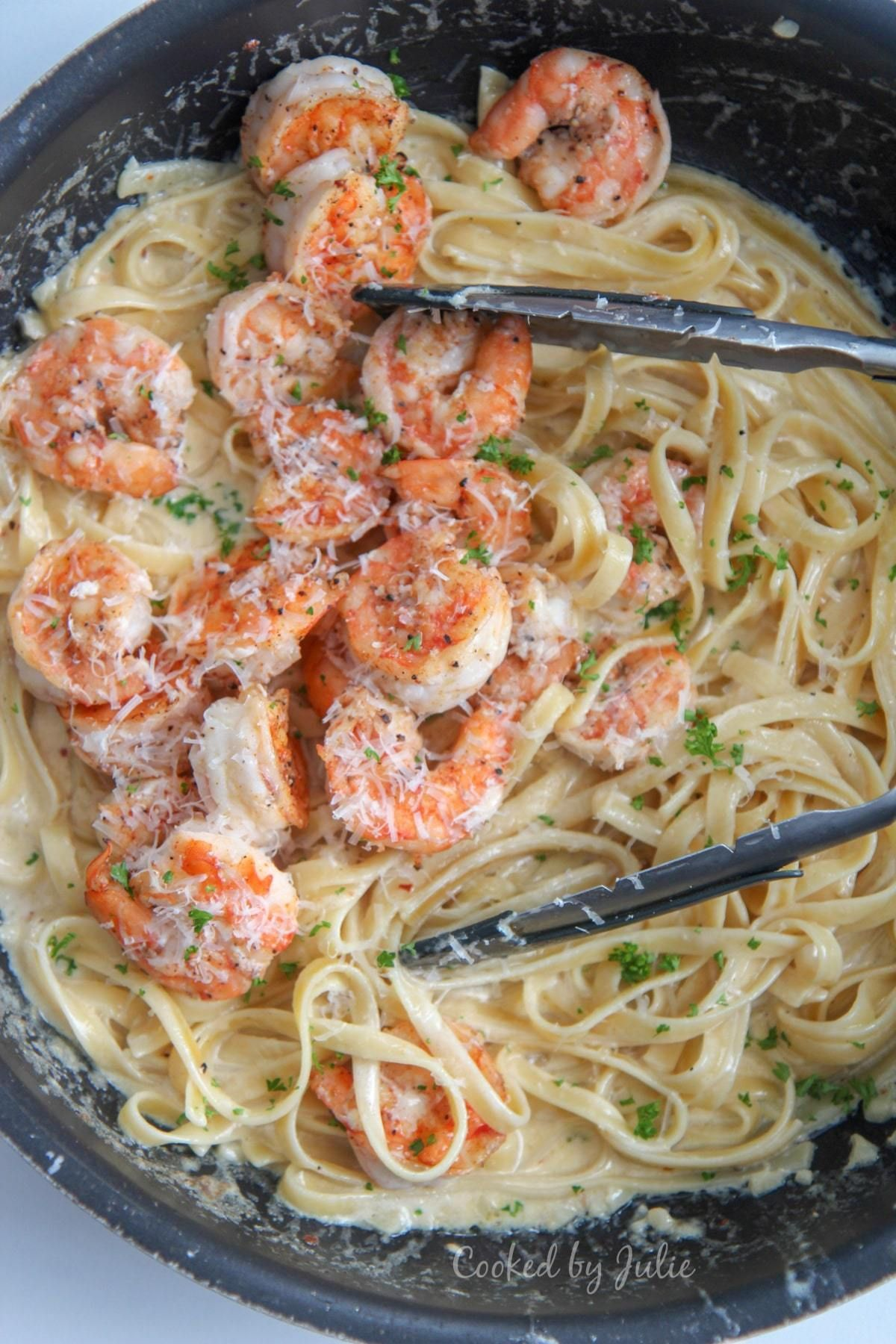 Photo of Creamy Shrimp Alfredo Pasta – (Video) Cooked by Julie