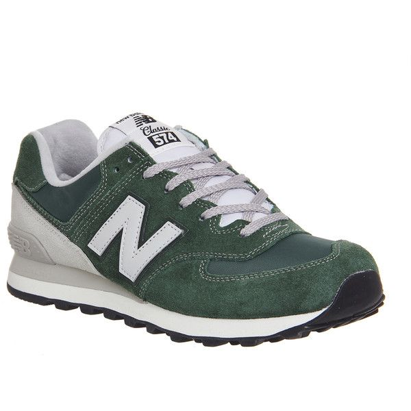 New Balance M574 Trainers (¥7,135) ❤ liked on Polyvore featuring shoes, green off white, trainers, unisex sports, lightweight shoes, green shoes, suede shoes, light weight shoes i unisex shoes