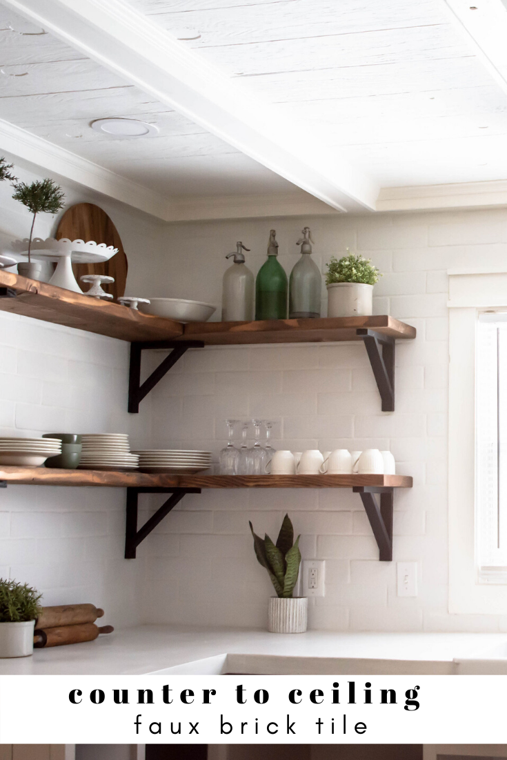 Counter To Ceiling White Tile With Wood Open Shelving How To Style Open Shelving White Concrete Countertops Faux Brick Tiles Brick Tile Backsplash
