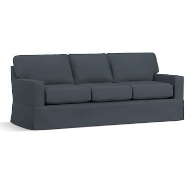 """Buchanan Square Arm Slipcovered Grand Sofa 89.5"""", Polyester Wrapped Cushions, Brushed Canvas Harbor Blue"""