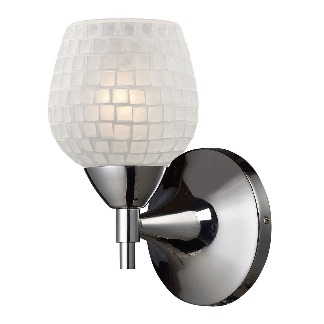 Celina 1 Light Sconce In Polished Chrome And White 10150/1PC-WHT