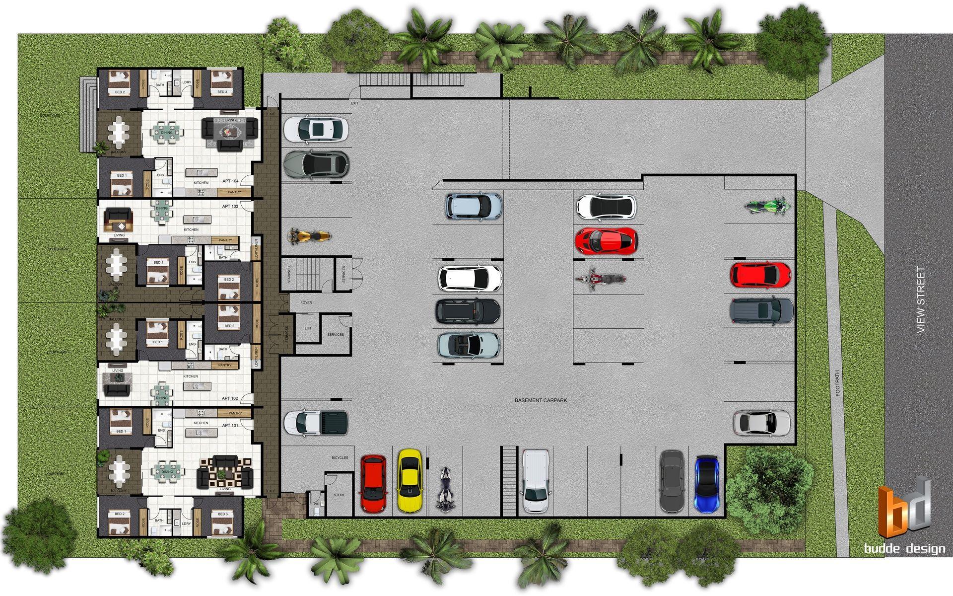 1st level 2d colour floor plan for a 4 level multi unit