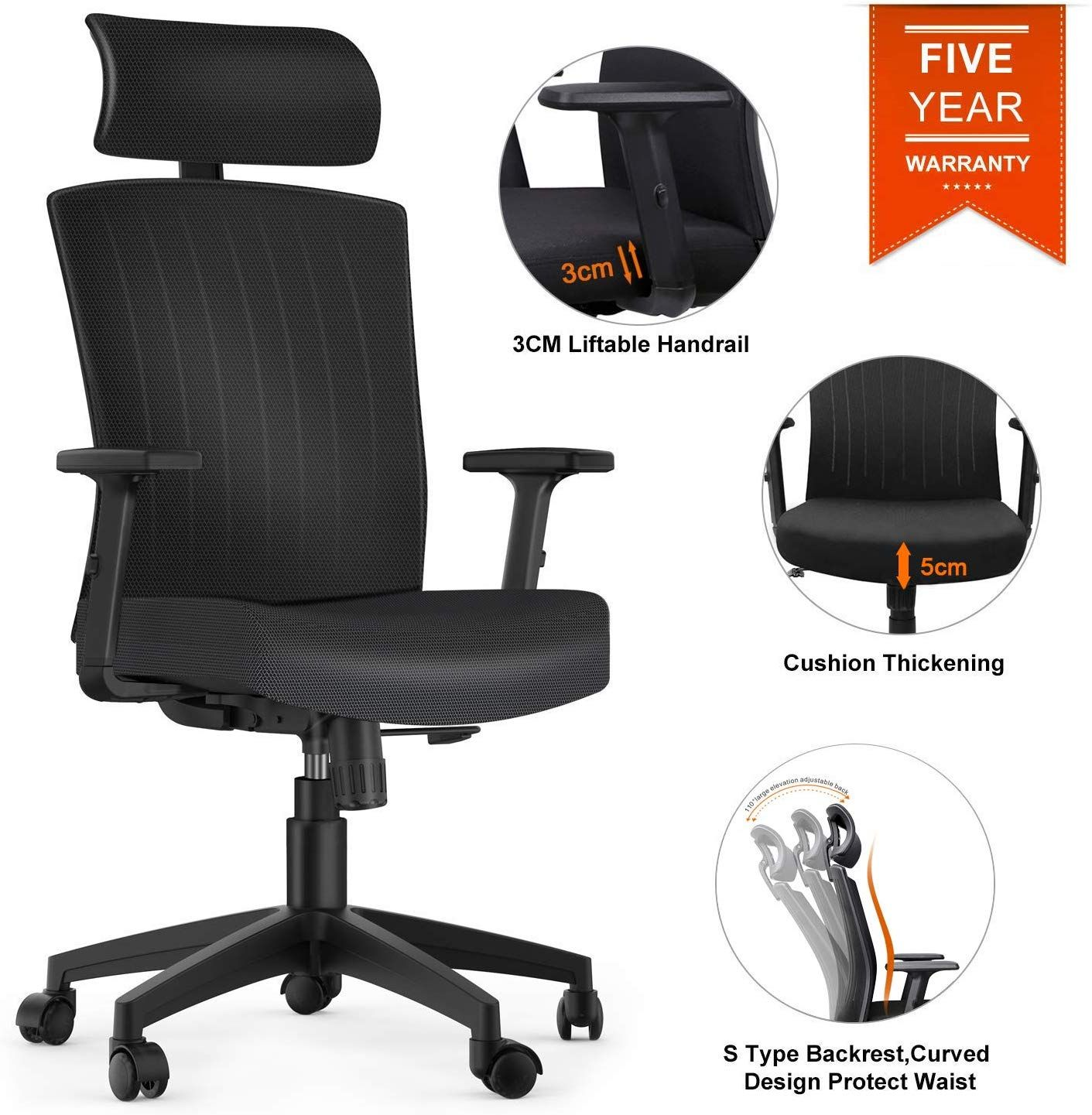 Komene Office Desk Chair 5 Years Warranty Weight Hold Up 250ibs Comfortable Thick Seat Cushion Ergonomic Computer Chair With Adjustable Headrest Armrests Seat Computer Chair Ergonomic Office Chair Office Chair
