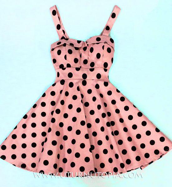 20b1d3f5b002 Vintage Pink & Black Polka Dot Dress / Tie Back /PinUP [Coco-Chame] -  $59.99 : Uturn Utopia, Retro footwear, Rockabilly Shoes, Vintage Inspired  Clothing, ...