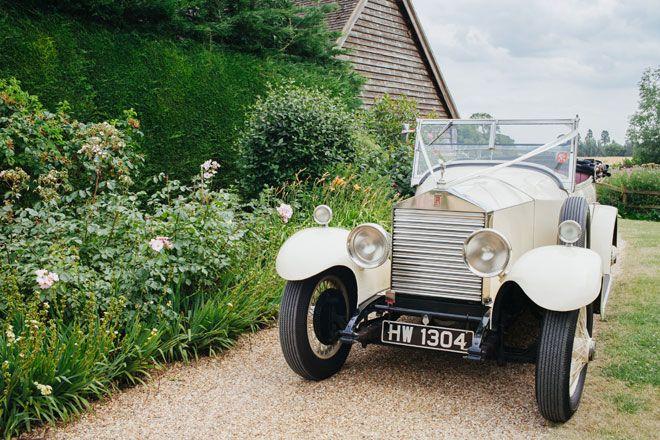 Vintage Rolls Royce at Bassmead Manor Barns wedding venue. Images by vanessaadams.com | Visit wedding-venues.co.uk