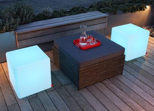 """Outdoor LED Light Cube 16"""" - Cordless with remote control - Elite Outdoor Furniture Store"""