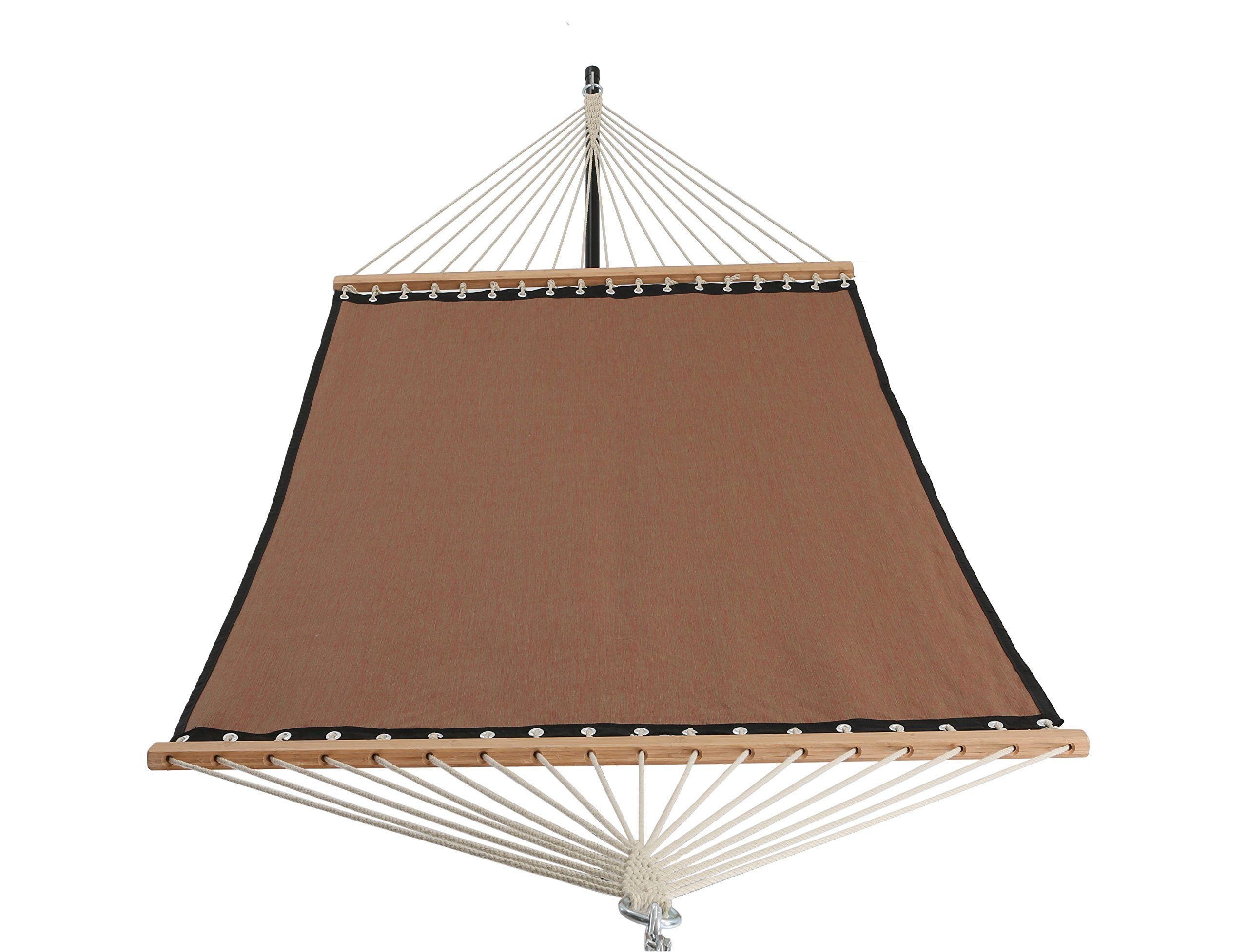Patio Watcher 11 Ft Quick Dry Hammock Bamboo Spreader Bars Outdoor Patio Yard Poolside Hammock With Chain Hanging Kits And Hooks Textilene And Olefin Material