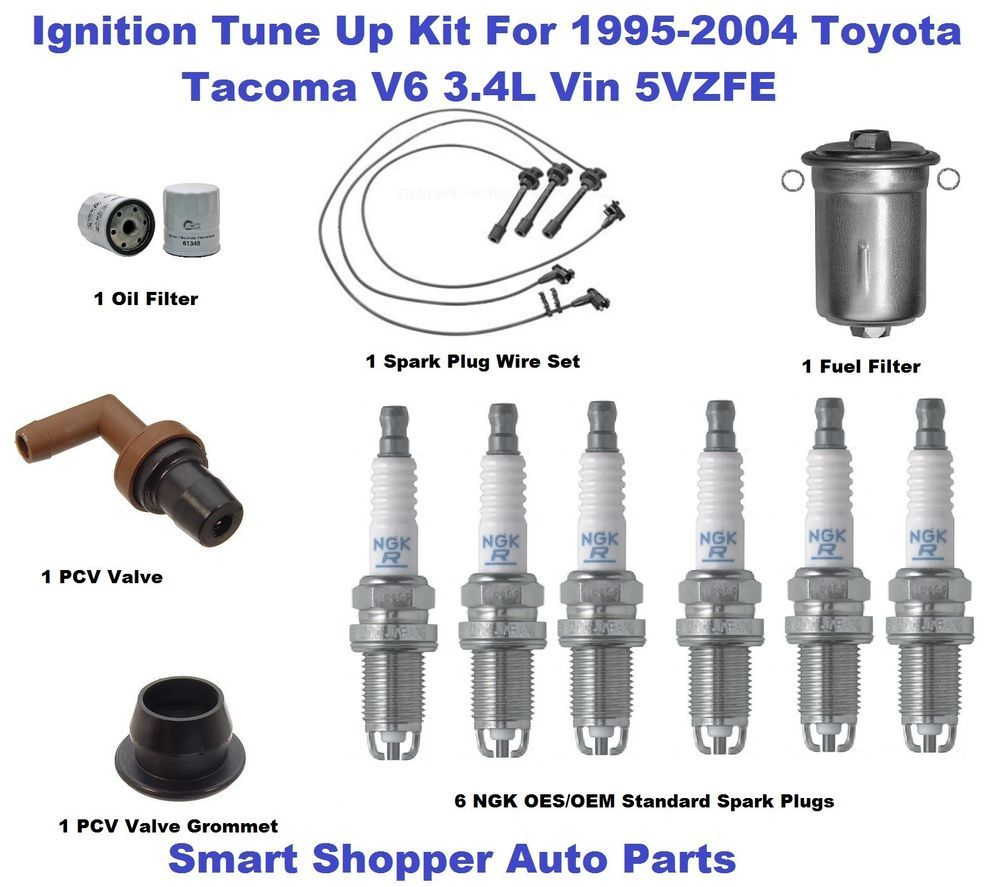 ignition tune up for 95 04 tacoma ngk oes oem standard spark plug filter pcv val [ 1000 x 887 Pixel ]