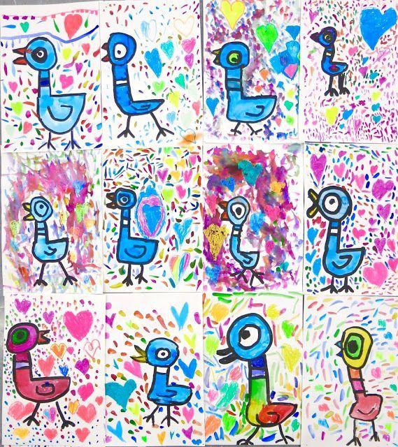 In the Art Room: Kindergarten Mo Willems Pigeons! (Cassie Stephens
