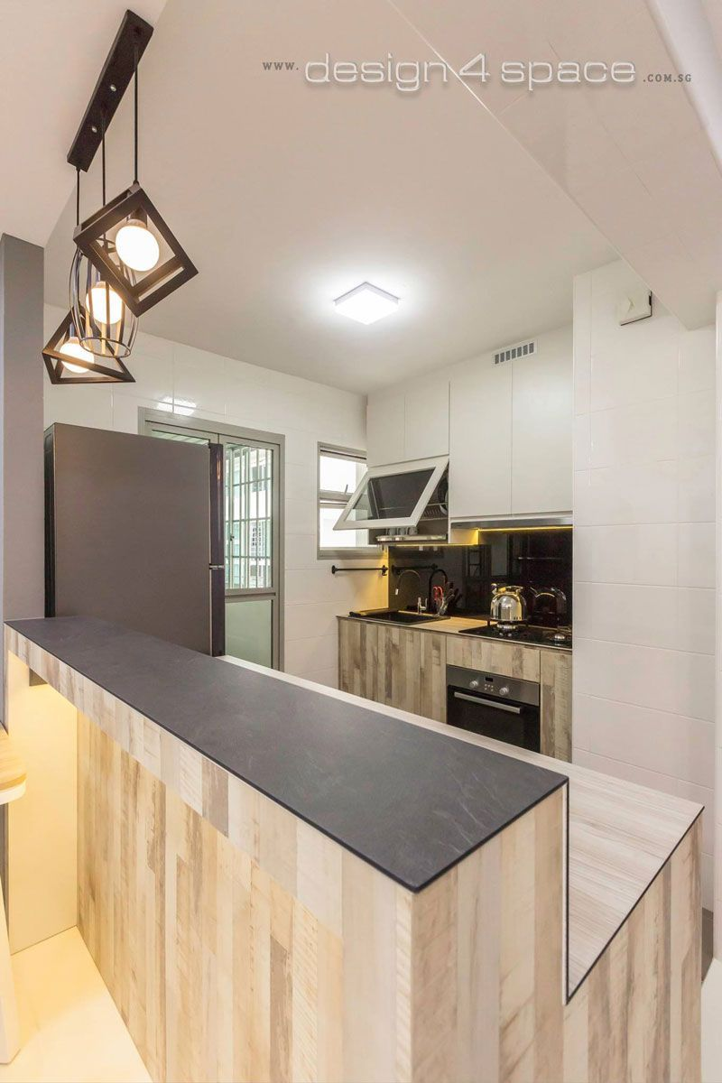 8 Ways To Do A Semi Open Kitchen In Your Hdb A Raised Counter Such