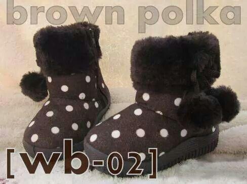 Ready Stock Kids Winter Boots Kode Wb 02 Brown Polka Size 21 25 Price Rp 125 000 Available Size Insole Sepatu Balita Sepatu Bayi Sepatu Anak
