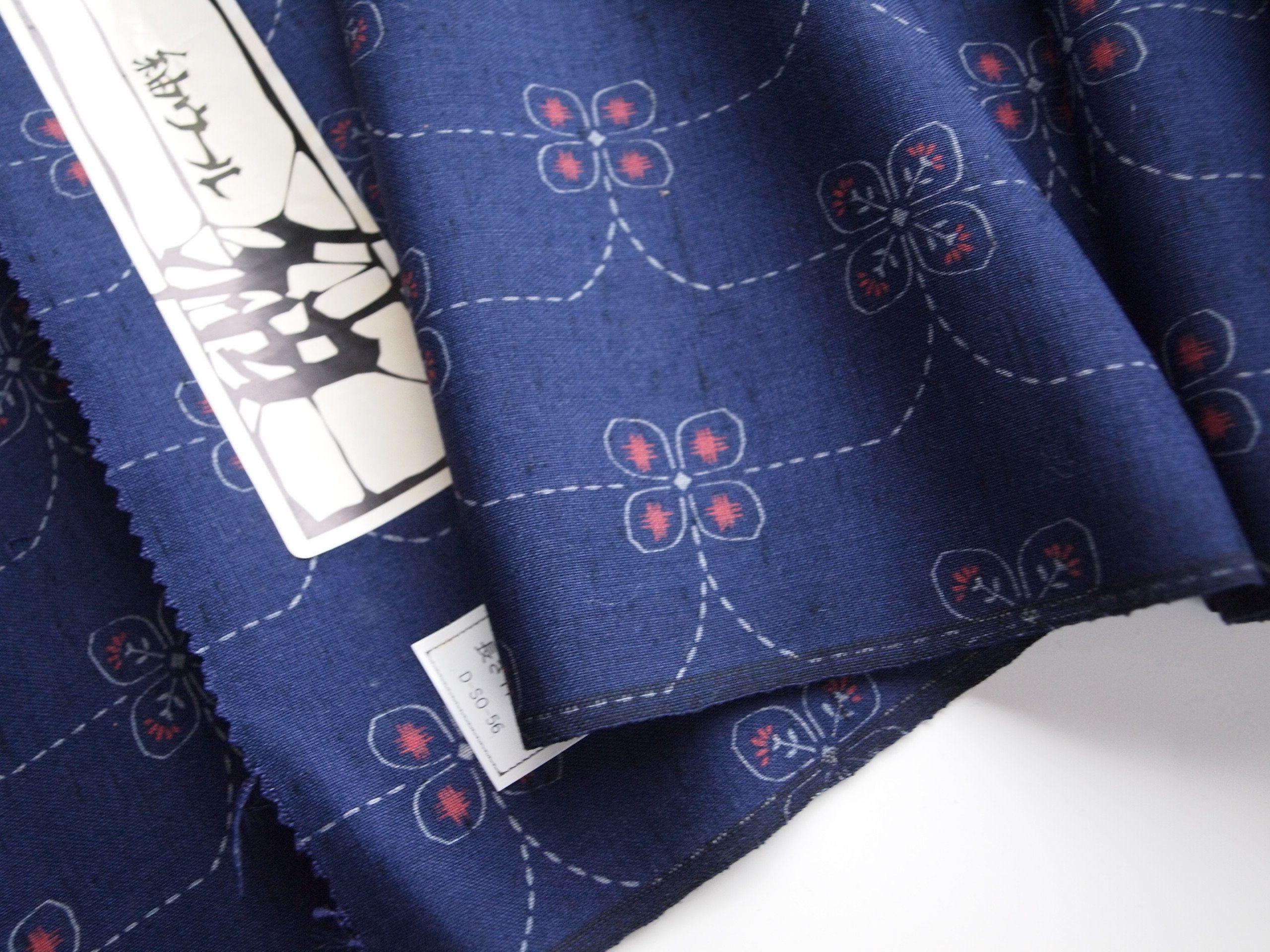 Indigo Blue Wool Kimono Fabric Ikat Wool Textile Unused Etsy Kimono Fabric Blue Wool Fabric