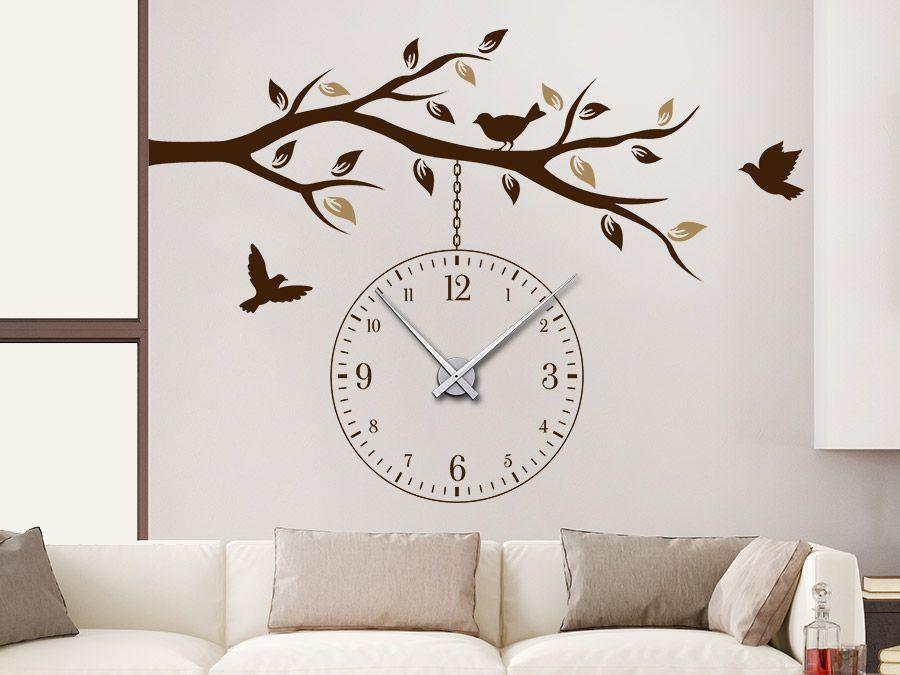 Uhr Ast Mit Vogeln Wanduhr Wandtattoo Uhren Wanduhren Mit Dem