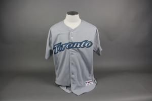 5133e4c50 Eric Hinske 2006 Set 3 Game Used Game Worn  11 Toronto Blue Jays Road Gray  Majestic size 50 Jersey with 30th Anniversary patch on the right sleeve.