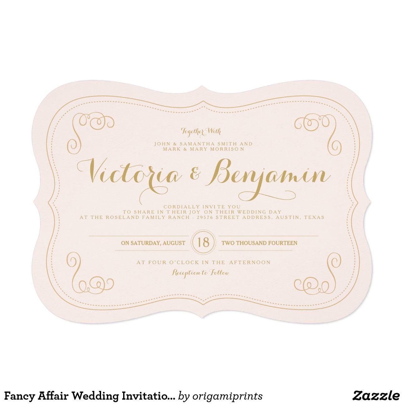 """Fancy Affair Wedding Invitation - Blush & Gold 5"""" X 7"""" Invitation Card #zazzlemecrazy"""