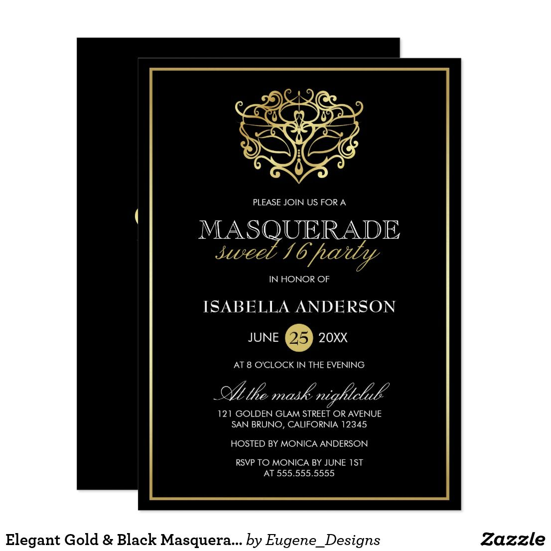 Elegant gold black masquerade sweet 16 party card sweet 16 elegant gold black masquerade sweet 16 party card monicamarmolfo Image collections