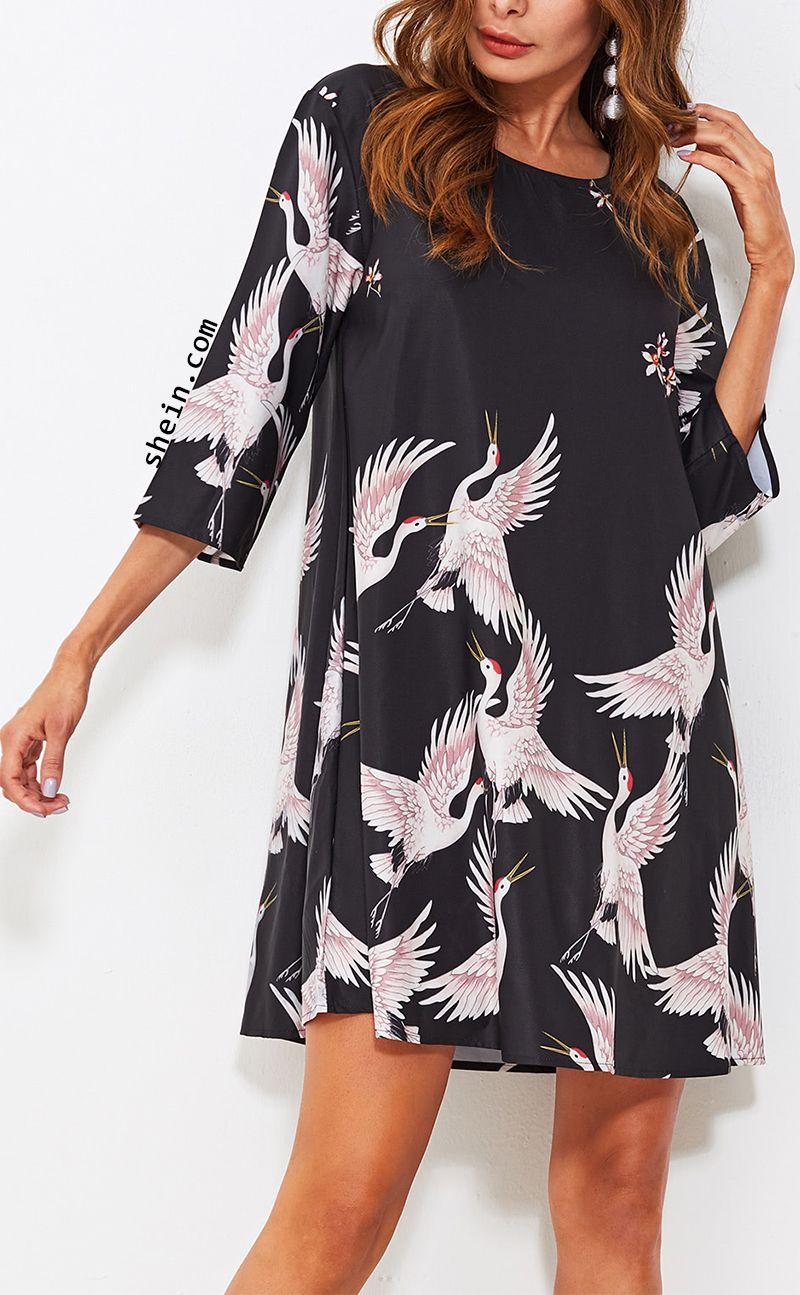 26463b2298570 Crane Bird Print Swing Dress | Ideas for dressing in 2019 | Fashion ...