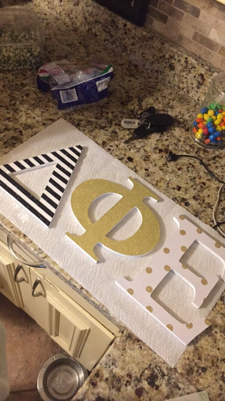 decorated sorority letters with glitter