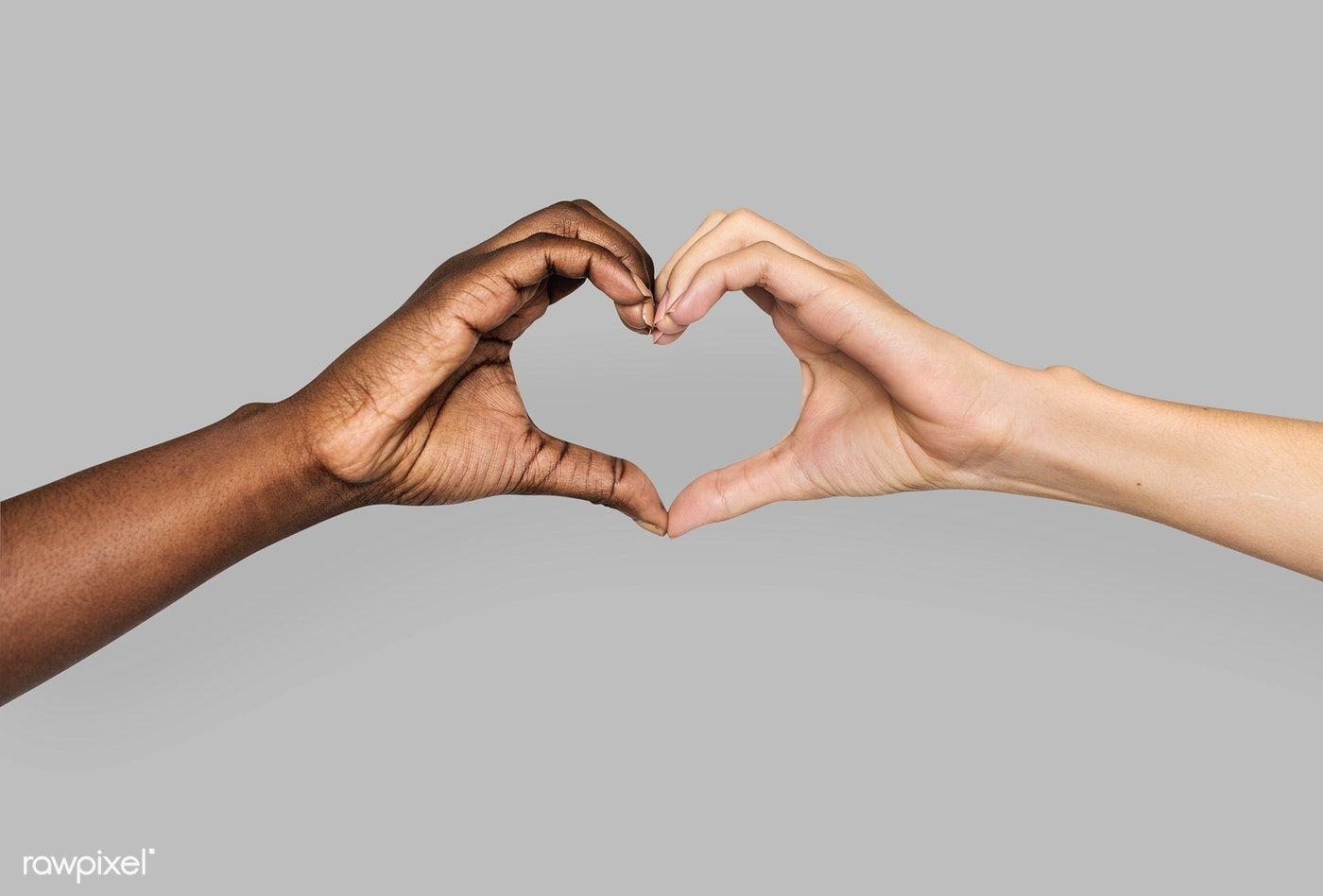 Download premium photo of Diverse hands gestured in heart-shape ...