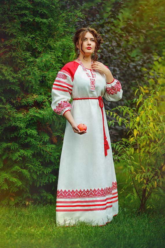 fcb57093105a Russian dress Red white slavic pagan folk ethnic style slavic dress for  holidays robe festival old s