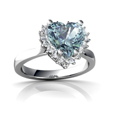 14kt Gold Lab Alexandrite and Diamond 8mm Heart Halo Heart Ring Jewels For Me