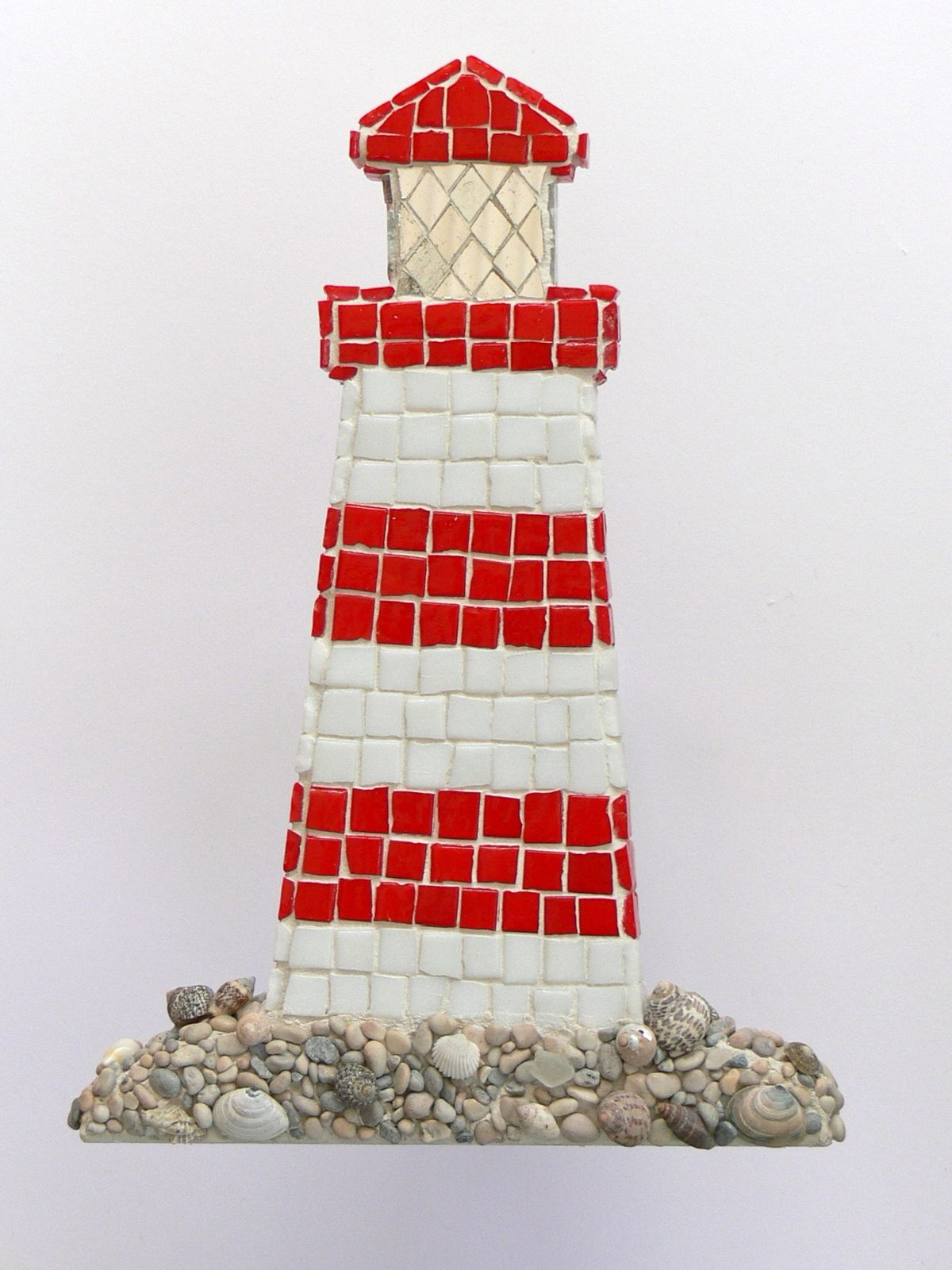 Red And White Lighthouse Mosaic Wall Art By Rana Cullimore Www