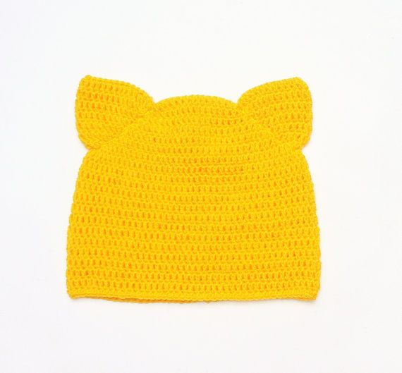 7a81242b1c8 Cat Hat Yellow Cat Beanie Cat Ear Hat Animal Hat Crochet by 2mice ...