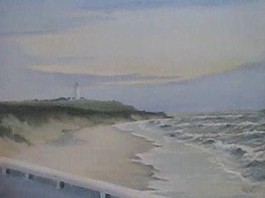 Hirtshals Strand Maleri Af Leif Larsen