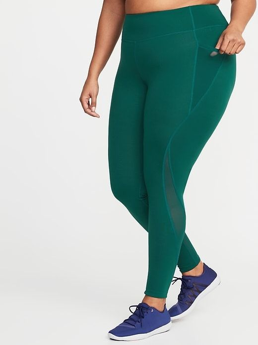 a81ae95a70c028 Old Navy Women's High-Rise Elevate Side-Pocket Compression Plus-Size  Leggings Botanical Green Size 3X