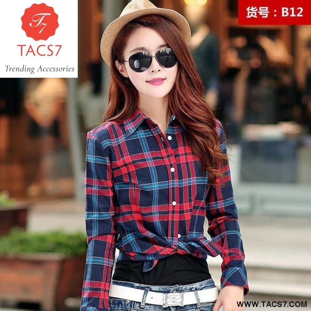 Plus size womens flannel shirt  Casual Flannel Cotton Shirt Ladies Blouse Women Tops  Plus Size