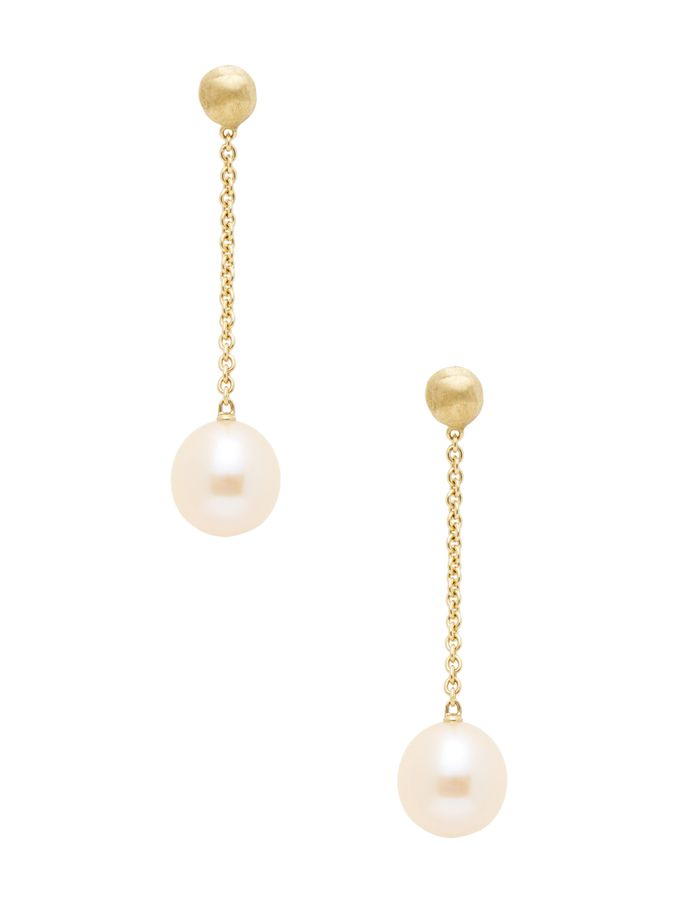 Africa Yellow Gold & Pink Pearl Drop Earrings from Marco Bicego on Gilt