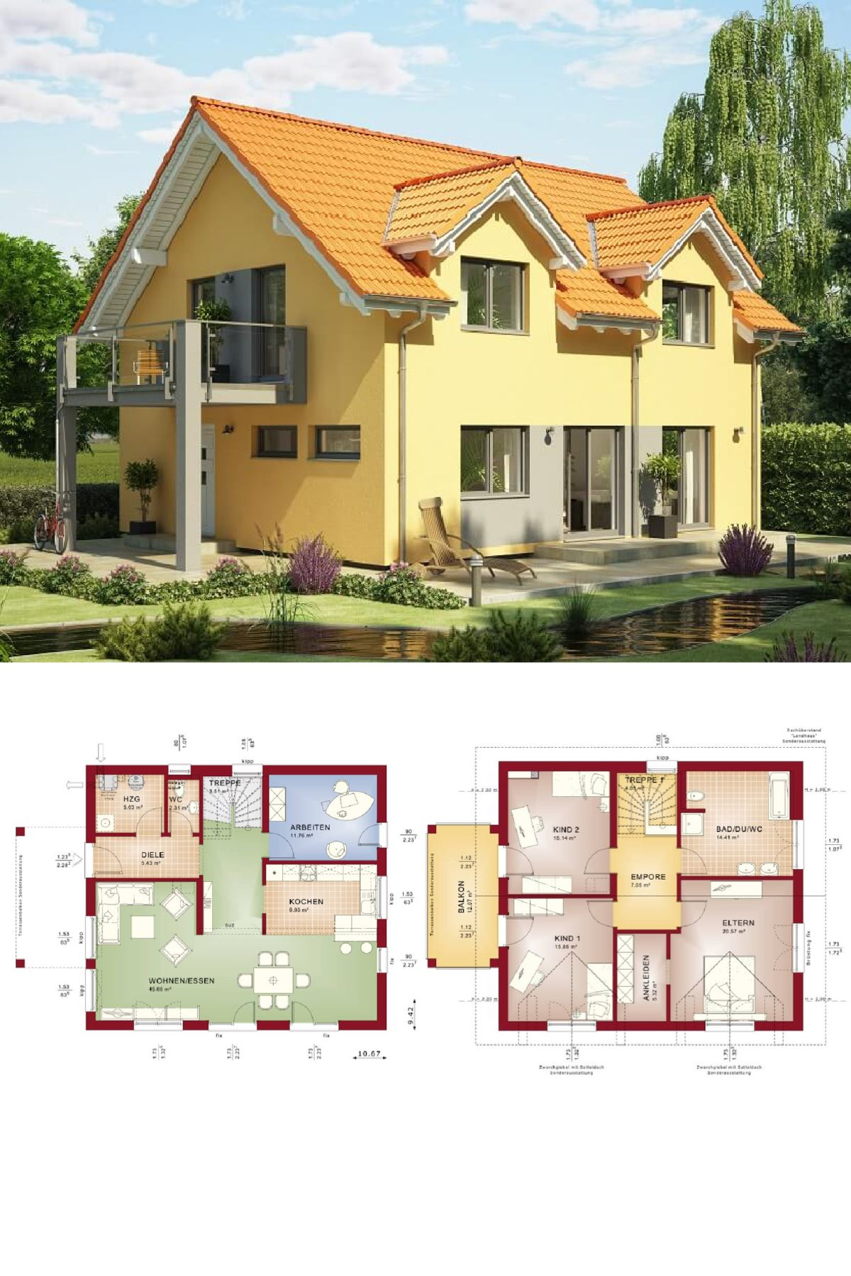 Haus landhausstil fertighaus  Einfamilienhaus mit Satteldach im Landhausstil - Haus Grundriss ...