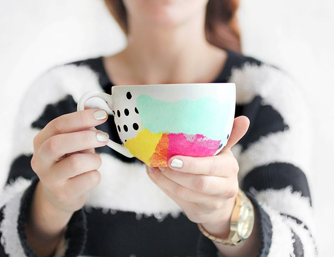 My Diy Tissue Paper Watercolor Mug I Spy Diy Diy Mugs Mod