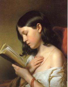 Franz Eybl, Lesendes Mädchen, 1850 - Jeune fille lisant