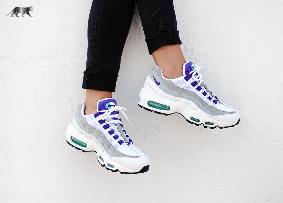 size 40 9edde ed269 ... Nike Wmns Air Max 95 (White Court Purple - Emerald Green - Wolf Grey .