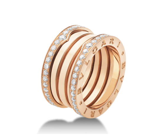 bvlgari ring in 18 kt pink gold with pav diamonds