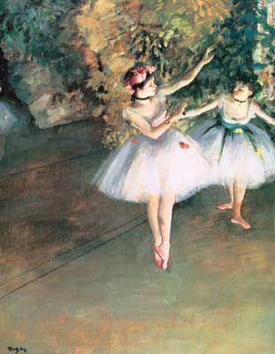 Edgar Degas, Two Dancers on a Stage Fine Art Reproduction Oil Painting