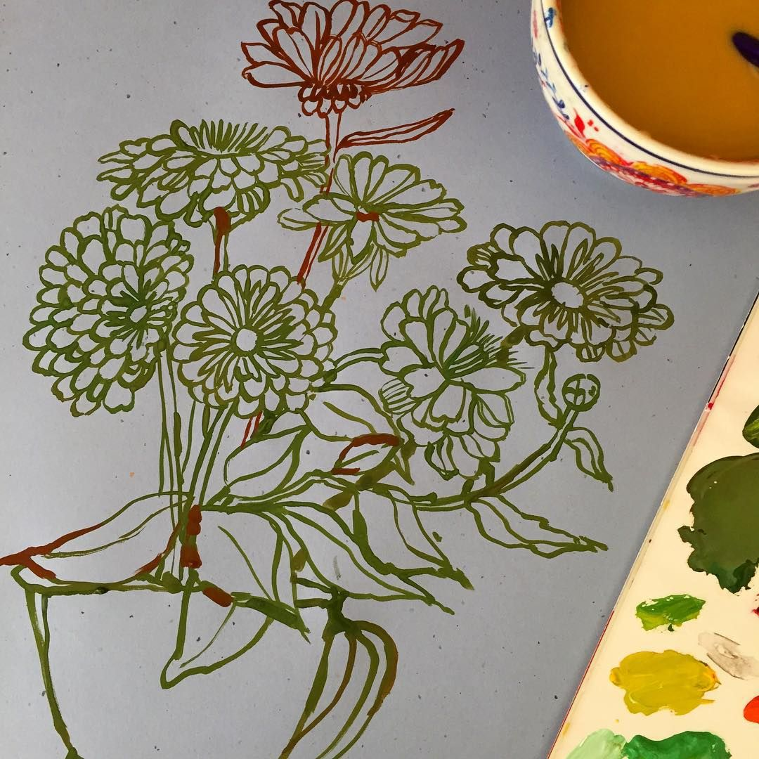"""Sunday painting drawing work in progress. I bought these giant Zinnias from the @torontoflowermarket yesterday. They're a massive color challenge. #wip…"""