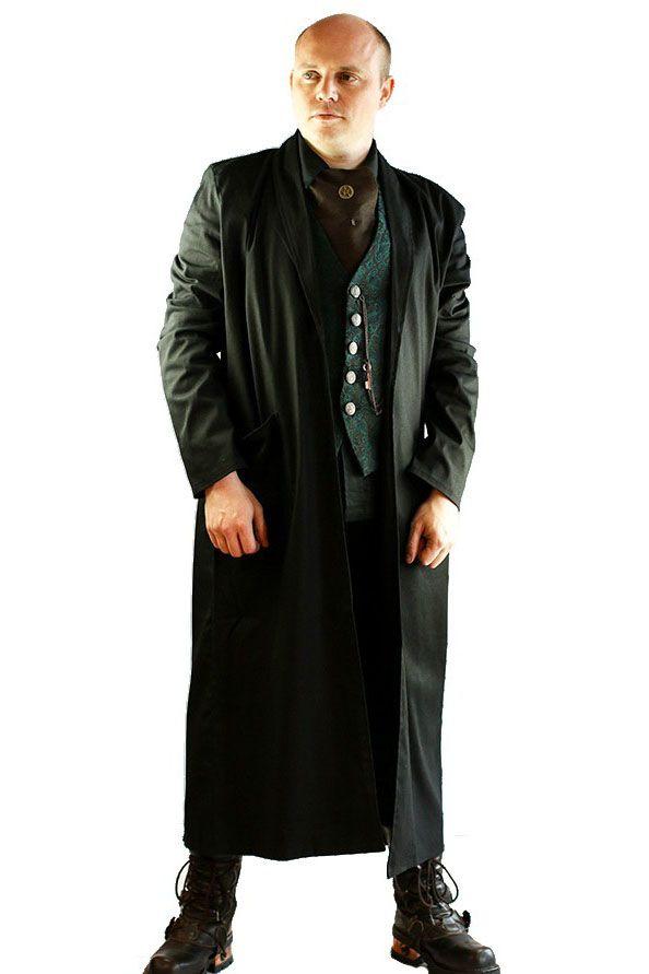 Phaze - Mens Black Duster Coat - Canvas | Shopping by ...